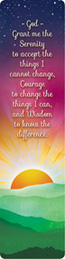 Serenity Prayer Sun Bookmark Rich jewel tones and the Serenity Prayer make for a beautiful sunset scene. Design appears on both the front and the back.