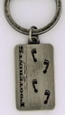 Footprints in the Sand Keyring What a great reminder to have with you! The footprints in the sand are etched on a silver-plated metal keytag