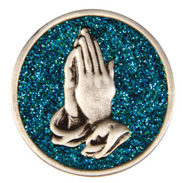 Praying Hands Glitter Painted Medallion