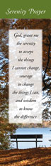 Serenity Prayer Bookmark Peaceful meditation scene on the front of this bookmark with the short version of the Serenity Prayer. Full prayer on the backside.