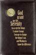 NA Serenity Prayer Book Cover with Medallion Holder Preserve your hardcover copy of Narcotics Anonymous (6th edition) with this supple leather-like cover. The Serenity Prayer, lettered in gold, provides daily inspiration.