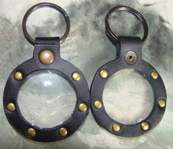 Black Key Fob with Rivets and Round Medallion Holder