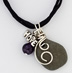 "Great Lakes Stone Hope Necklace <p>Great Lakes Stone Necklace with silver hope charm, amethyst bead and wire scroll on 16"" brown silk dyed cord with a 2 "" extender."