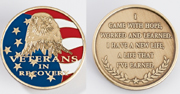 Veterans Medallion <br/>patriotic - a Majestic eagle with stars and stripes. Inscribed on the other side: I came with hope, worked and learned. I have a new life, a life that I've earned.<br/>
