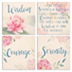 Serenity Coaster Set </br>Beautifully painted coasters reflect the Serenity prayer pillars.</br>
