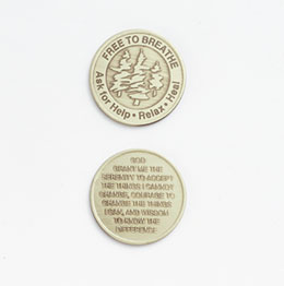 Free to Breathe Medallion <br/>Antiqued bronze medallion gives hope and reinforces the motivation to maintain recovery for individuals addicted to nicotine.<br/>