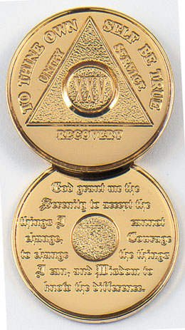 Premier Anniversary Gold Plated Special Order Medallion <br/><b/>*Special Shipping. See full description for details.</b><br/>Plated with 24k gold, this premium medallion will commemorate your sobriety. Available anniversary dates of 11 - 60 and blank.<br/>