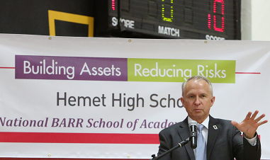 Riverside County Superintendent of Schools Kenneth Young delivers the keynote address at Hemet High School.